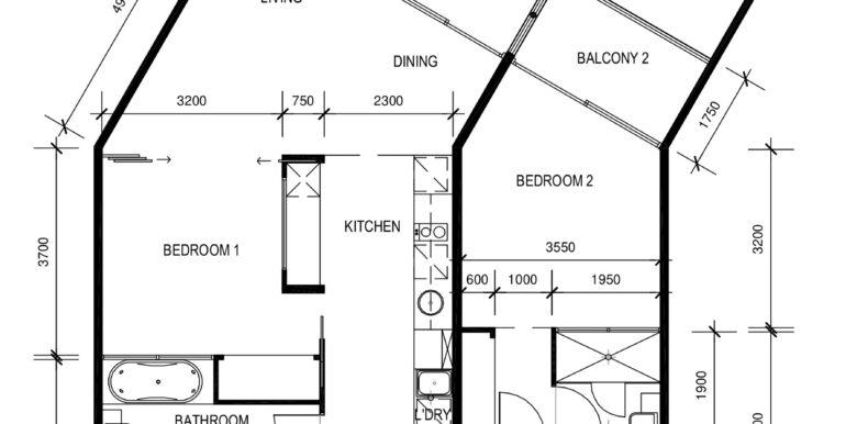 Peppers 2 bed floor plan - Design B