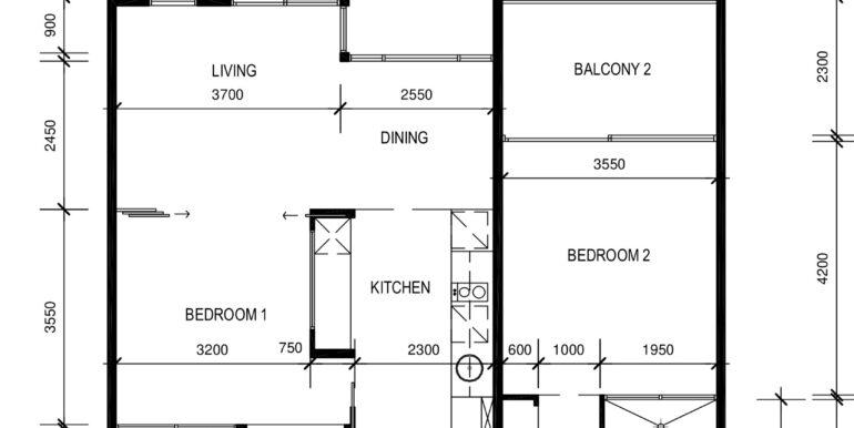 Peppers 2 bed floor plan - Design A